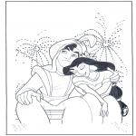 Personagens de banda desenhada - Aladino e o fogo-de-artifício