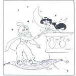 Personagens de banda desenhada - Aladino no tapete voador