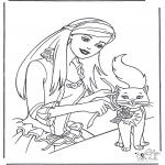 Personagens de banda desenhada - Barbie e o gato