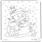 Inverno - Boneco de neve com coelho