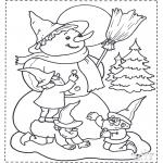 Inverno - Boneco de neve e anão