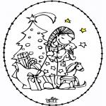 Cartões de furar - Cartão de cortar - menina e árvore de natal