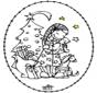 Cartão de cortar - menina e árvore de natal