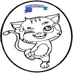 Cartões de picotar - Cartão de Furar - gato