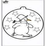 Inverno - Cartão de picotar - Boneco de neve 1