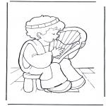 Pinturas bibel - David faz música
