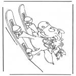 Personagens de banda desenhada - Diddle urso de skis