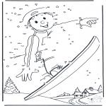 Inverno - Fazendo snowboard