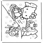Personagens de banda desenhada - Hello Kitty na neve