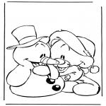 Personagens de banda desenhada - Homem da neve e urso