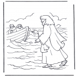 Pinturas bibel - Jesus andando na água