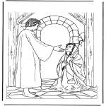 Pinturas bibel - Jesus e a mulher doente