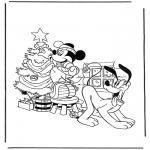 Personagens de banda desenhada - Mickey com árvore de Natal