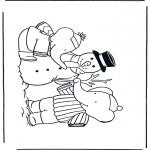 Inverno - Página da coloração do boneco de neve 1