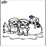 Inverno - Página da coloração do boneco de neve 2