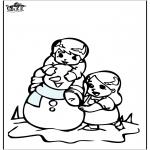 Inverno - Página da coloração do boneco de neve 3