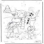 Inverno - Pai com boneco de neve