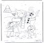 Pai com boneco de neve