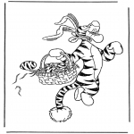 Personagens de banda desenhada - Pequeno tigre coelhinho de Páscoa