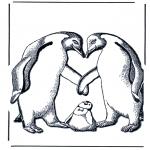 Animais - Pinguim com bebé
