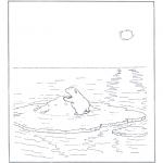 Animais - Urso polar no gelo