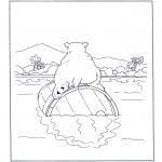 Animais - Urso polar num barril